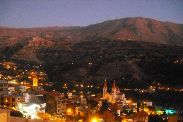 View from Bcharre at night